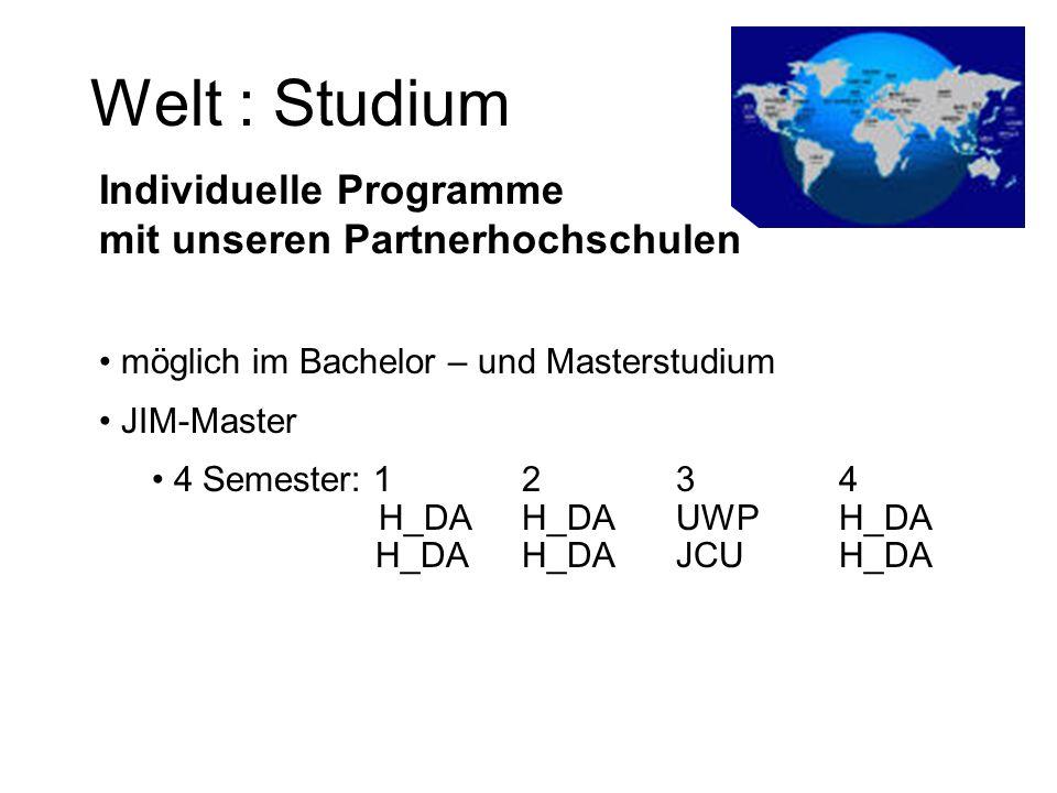 Welt : Studium Individuelle Programme mit unseren Partnerhochschulen möglich im Bachelor – und Masterstudium JIM-Master 4 Semester: 12 34 H_DAH_DA UWP