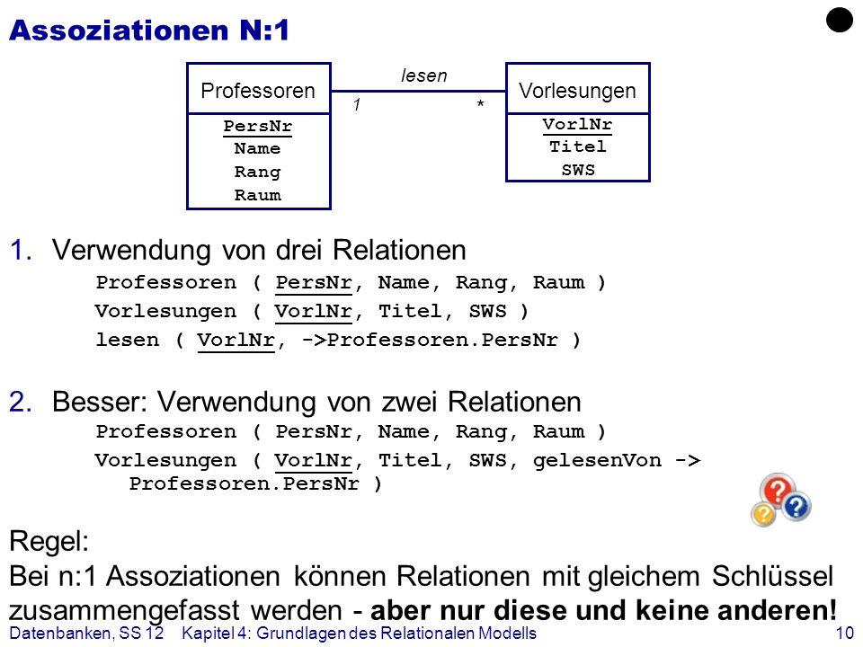 Datenbanken, SS 12Kapitel 4: Grundlagen des Relationalen Modells10 Assoziationen N:1 1.Verwendung von drei Relationen Professoren ( PersNr, Name, Rang