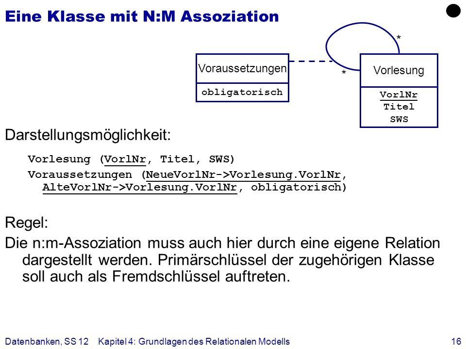 Datenbanken, SS 12Kapitel 4: Grundlagen des Relationalen Modells16 Eine Klasse mit N:M Assoziation Darstellungsmöglichkeit: Vorlesung (VorlNr, Titel,