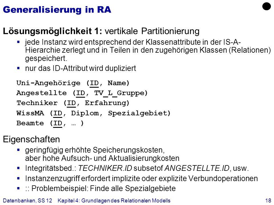 Datenbanken, SS 12Kapitel 4: Grundlagen des Relationalen Modells18 Generalisierung in RA Lösungsmöglichkeit 1: vertikale Partitionierung jede Instanz
