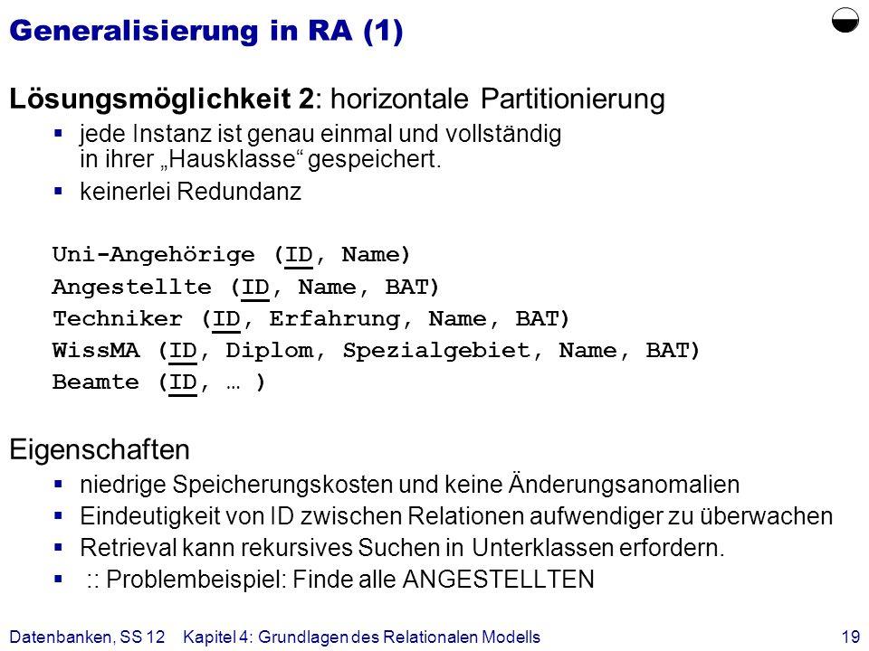 Datenbanken, SS 12Kapitel 4: Grundlagen des Relationalen Modells19 Generalisierung in RA (1) Lösungsmöglichkeit 2: horizontale Partitionierung jede In
