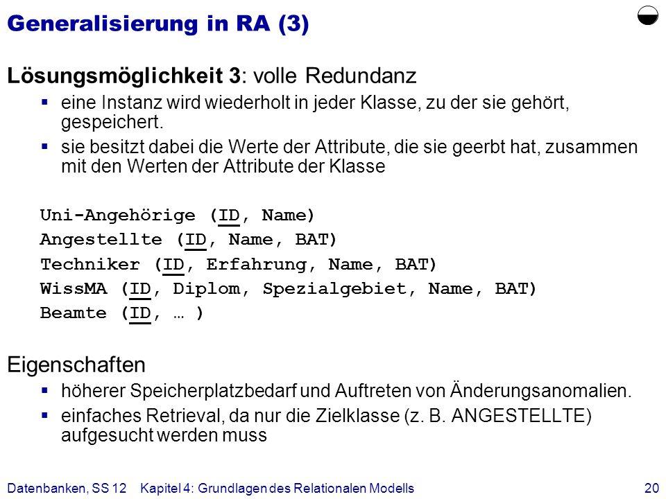 Datenbanken, SS 12Kapitel 4: Grundlagen des Relationalen Modells20 Generalisierung in RA (3) Lösungsmöglichkeit 3: volle Redundanz eine Instanz wird w