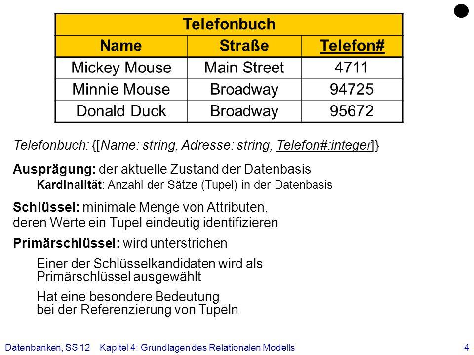 5 RM: Grundregeln Jede Zeile (Tupel) ist eindeutig und beschreibt ein Objekt (Entity) der Miniwelt Die Ordnung der Zeilen ist ohne Bedeutung Die Ordnung der Spalten ist ohne Bedeutung, da sie eindeutigen Namen (Attributnamen) tragen Jeder Datenwert innerhalb einer Relation ist ein atomares Datenelement Alle für Benutzer relevanten Informationen sind ausschließlich durch Datenwerte ausgedrückt Telefonbuch NameStraßeTelefon# Mickey MouseMain Street4711 Minnie MouseBroadway94725 Datenbanken, SS 12Kapitel 4: Grundlagen des Relationalen Modells