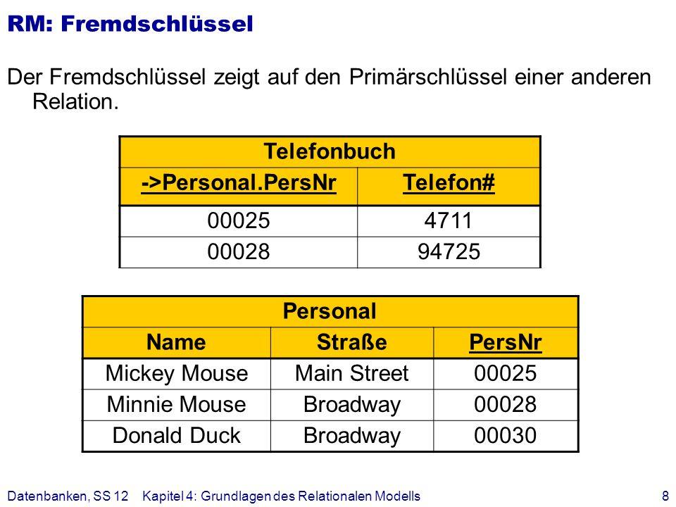Datenbanken, SS 12Kapitel 4: Grundlagen des Relationalen Modells9 Abbildung UML - RM Kriterien Informationserhaltung Minimierung der Redundanz Minimierung des Verknüpfungsaufwandes aber auch: Natürlichkeit der Abbildung keine Vermischung von Objekten Verständlichkeit Allgemeine Regeln: Jede Klasse muss als eigenständige Relation (Tabelle) mit einem eindeutigen Primärschlüssel definiert werden.