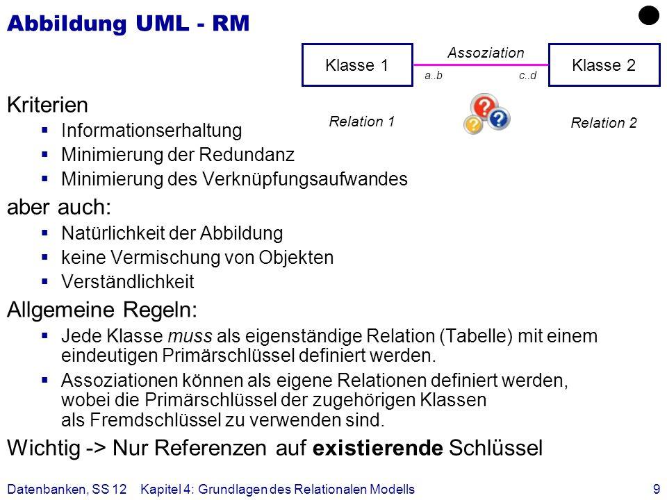 Datenbanken, SS 12Kapitel 4: Grundlagen des Relationalen Modells9 Abbildung UML - RM Kriterien Informationserhaltung Minimierung der Redundanz Minimie
