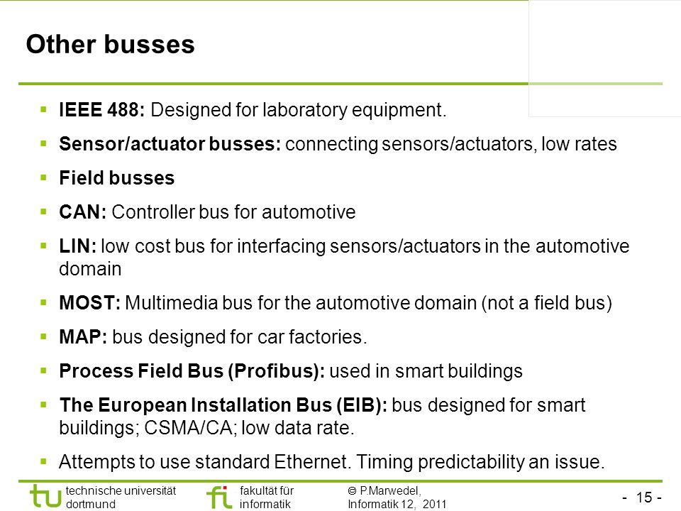 - 15 - technische universität dortmund fakultät für informatik P.Marwedel, Informatik 12, 2011 TU Dortmund Other busses IEEE 488: Designed for laborat