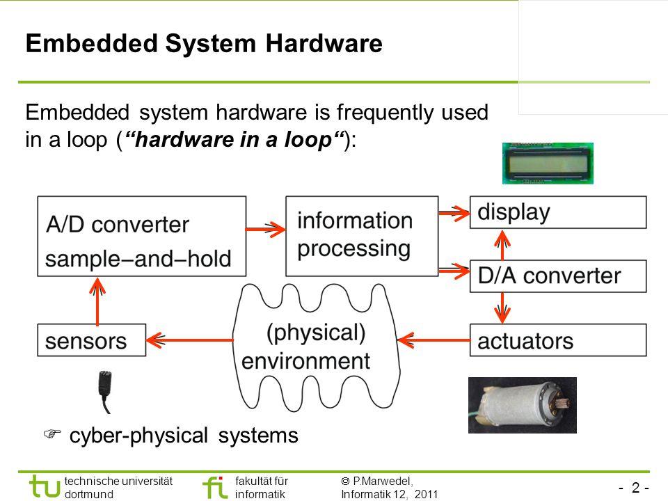 - 2 - technische universität dortmund fakultät für informatik P.Marwedel, Informatik 12, 2011 TU Dortmund Embedded System Hardware Embedded system har