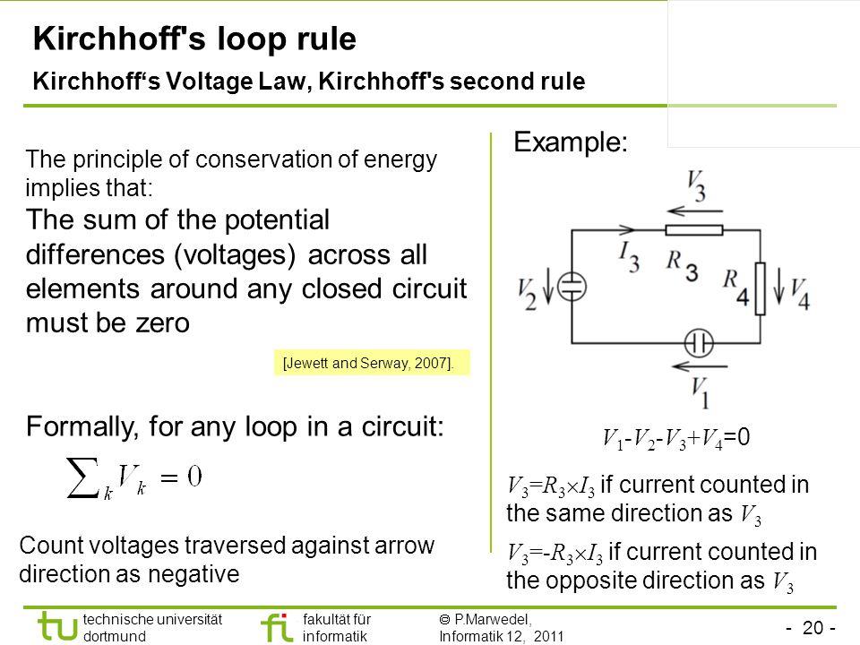 - 20 - technische universität dortmund fakultät für informatik P.Marwedel, Informatik 12, 2011 TU Dortmund Kirchhoff's loop rule Kirchhoffs Voltage La