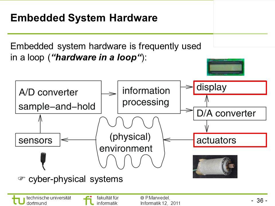 - 36 - technische universität dortmund fakultät für informatik P.Marwedel, Informatik 12, 2011 TU Dortmund Embedded System Hardware Embedded system ha