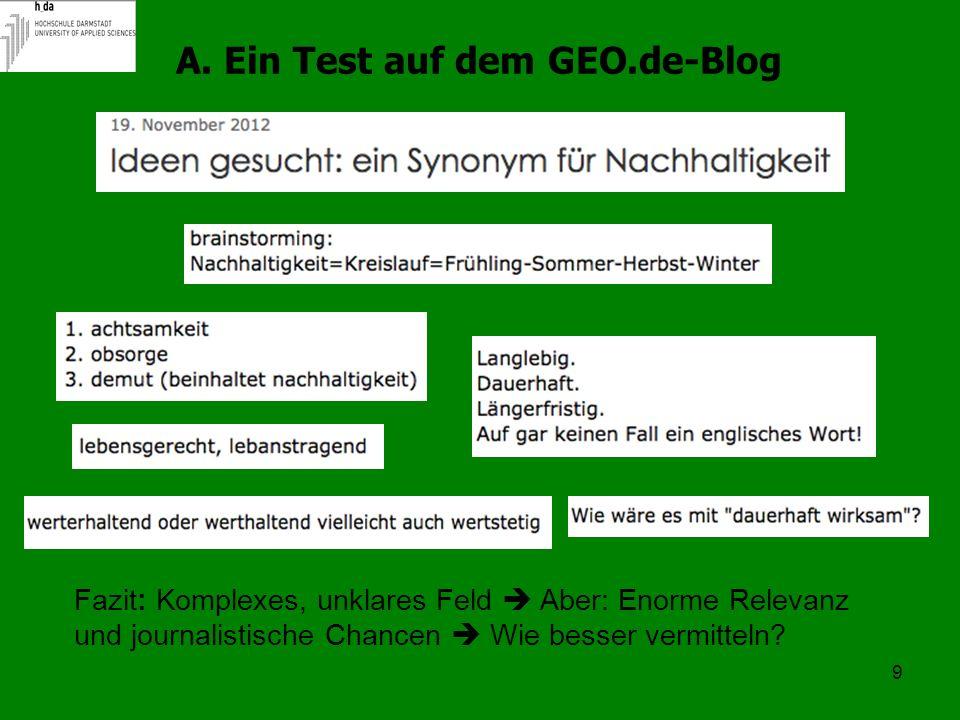 9 A. Ein Test auf dem GEO.de-Blog Fazit: Komplexes, unklares Feld Aber: Enorme Relevanz und journalistische Chancen Wie besser vermitteln?