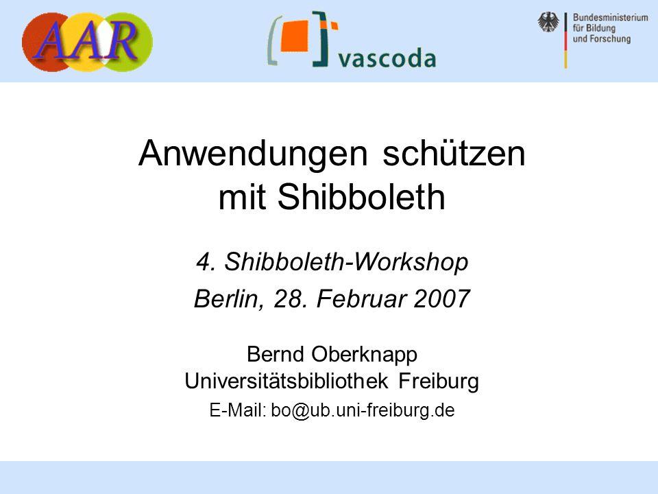 12 Bernd Oberknapp, Universitätsbibliothek Freiburg Wenn der IdP das entsprechende Attribut nicht liefert, ist der REMOTE_USER zwar definiert, aber leer.