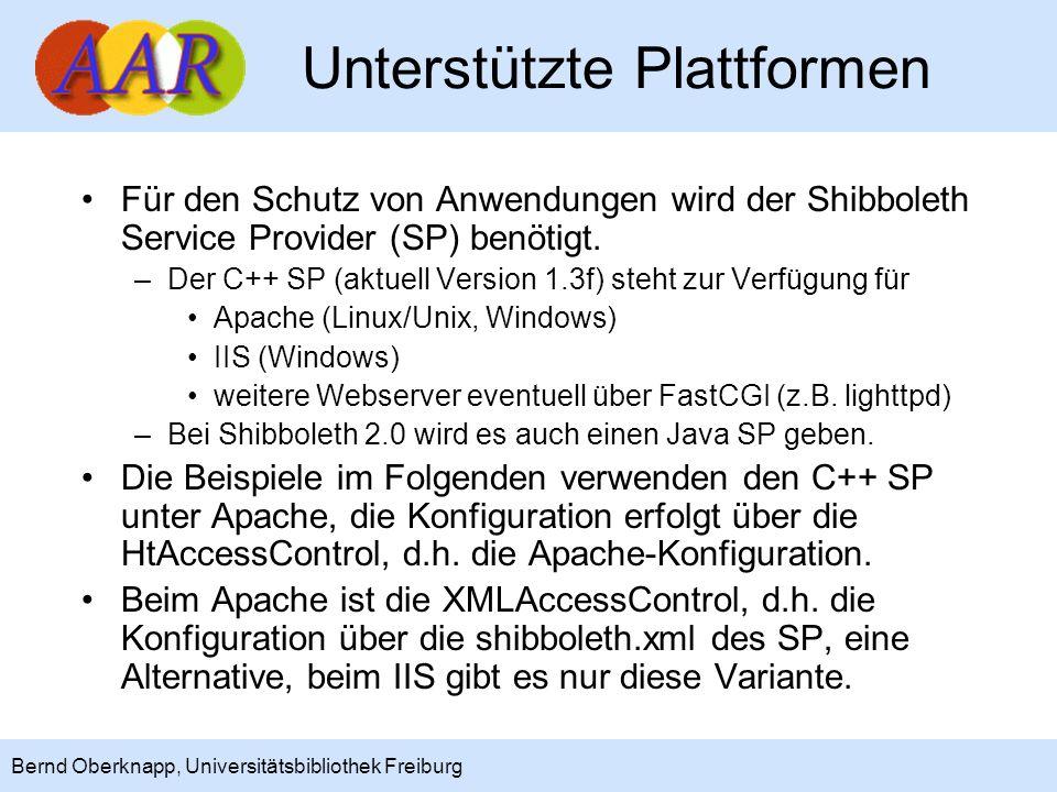 4 Bernd Oberknapp, Universitätsbibliothek Freiburg Nutzungsvarianten Der Shibboleth SP bietet zwei Möglichkeiten, die auch kombiniert werden können: –Apache Authentication und Access Control, d.h.