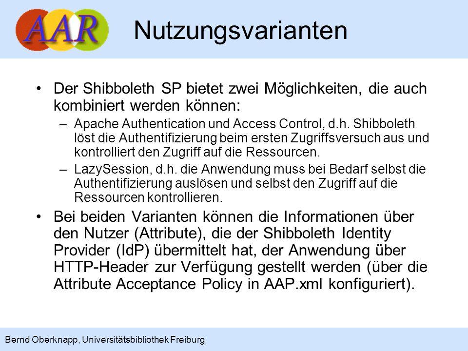 15 Bernd Oberknapp, Universitätsbibliothek Freiburg Beispiel 6 Beispiel Schnellsuchportal der UB Freiburg (IPS):Schnellsuchportal der UB Freiburg –Geschützt wird nur die URL /shiblogin, unter der das Login- Skript liegt, das die IPS eigene Session aufbaut.