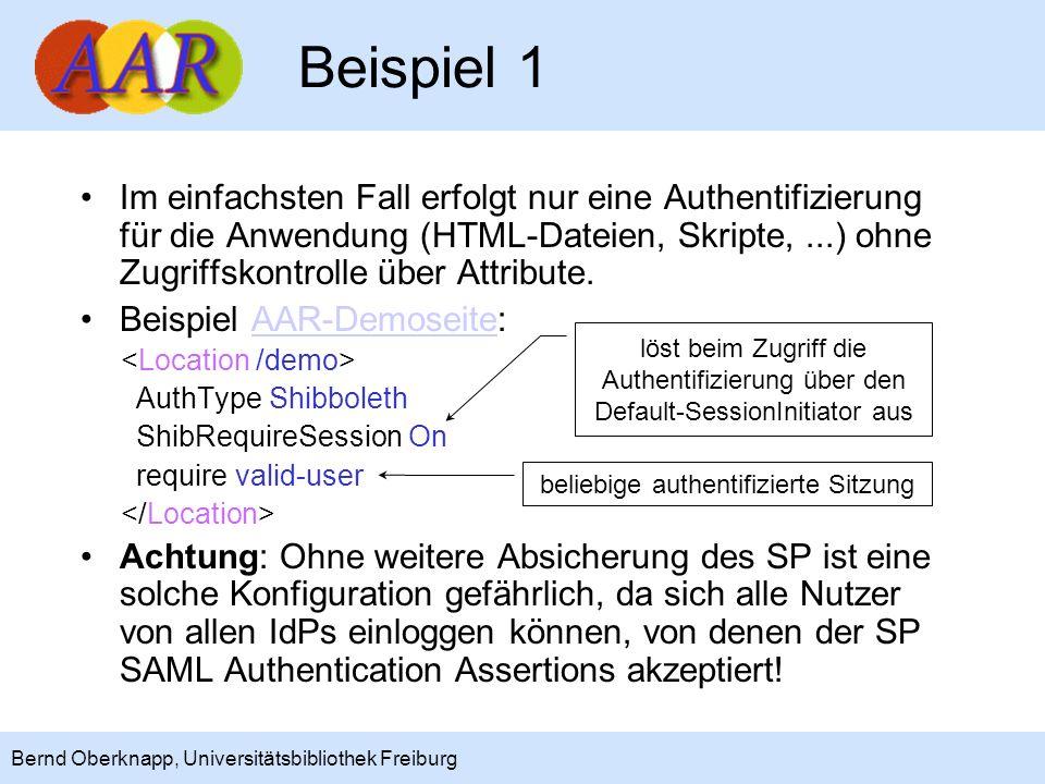 8 Bernd Oberknapp, Universitätsbibliothek Freiburg Beispiel 2 Der Zugriff kann durch eine require user-Regel auf bestimmte Nutzer eingeschränkt werden.