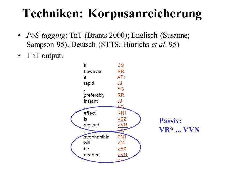 Techniken: Korpusanreicherung PoS-tagging: TnT (Brants 2000); Englisch (Susanne; Sampson 95), Deutsch (STTS; Hinrichs et al. 95) TnT output: CS RR AT1