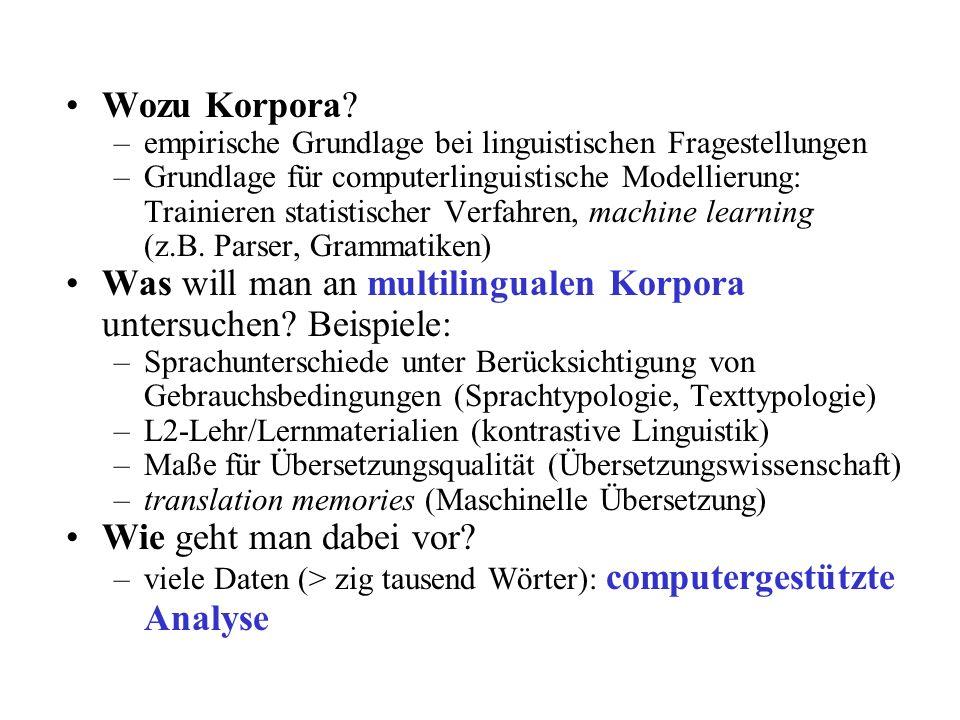 Wozu Korpora? –empirische Grundlage bei linguistischen Fragestellungen –Grundlage für computerlinguistische Modellierung: Trainieren statistischer Ver