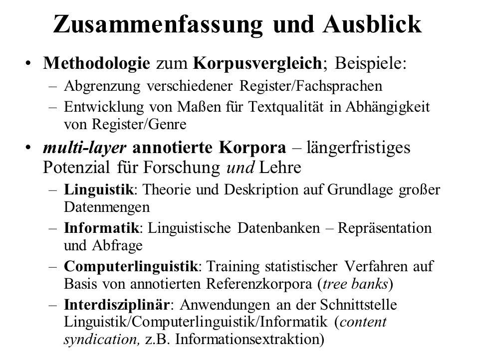 Methodologie zum Korpusvergleich; Beispiele: –Abgrenzung verschiedener Register/Fachsprachen –Entwicklung von Maßen für Textqualität in Abhängigkeit v