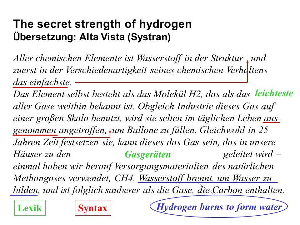The secret strength of hydrogen Übersetzung: Alta Vista (Systran) Aller chemischen Elemente ist Wasserstoff in der Struktur und zuerst in der Verschie