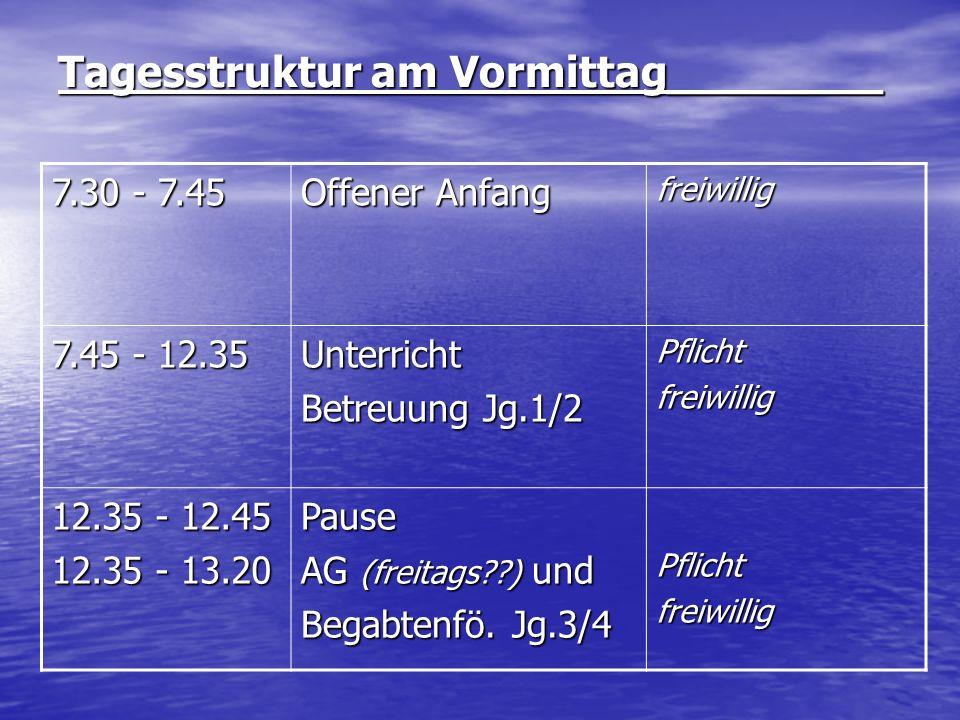 Tagesstruktur am Vormittag________ 7.30 - 7.45 Offener Anfang freiwillig 7.45 - 12.35 Unterricht Betreuung Jg.1/2 Pflichtfreiwillig 12.35 - 12.45 12.3