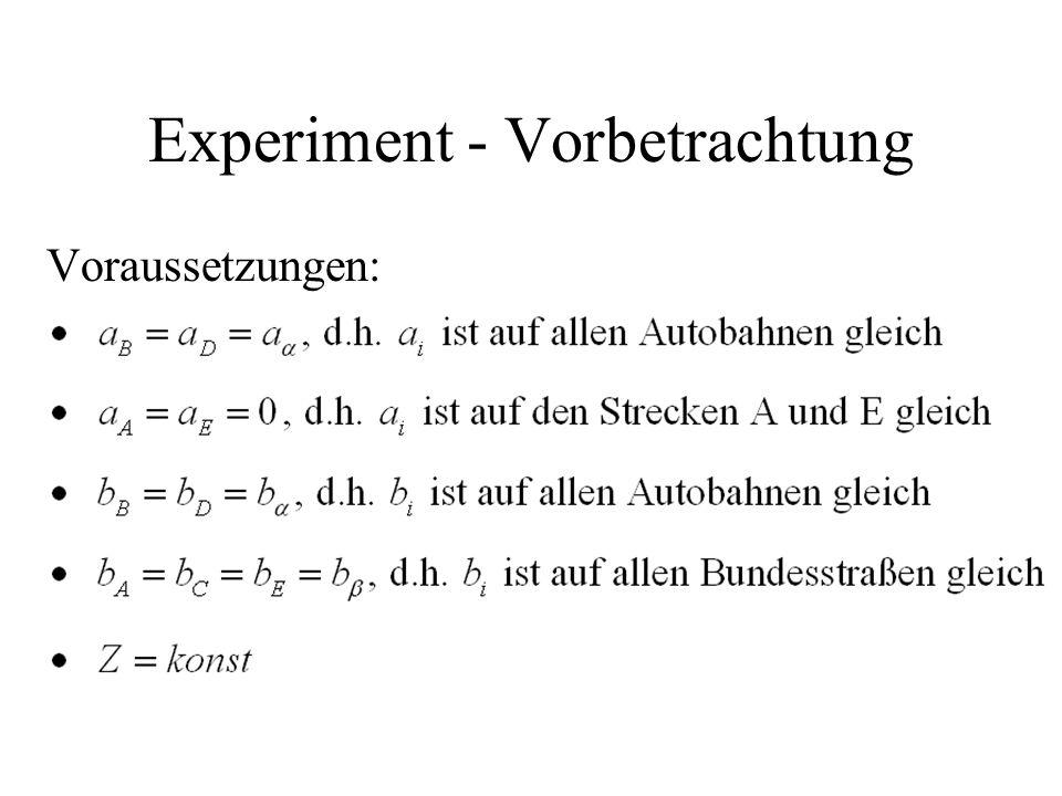 Experiment - Vorbetrachtung Voraussetzungen: