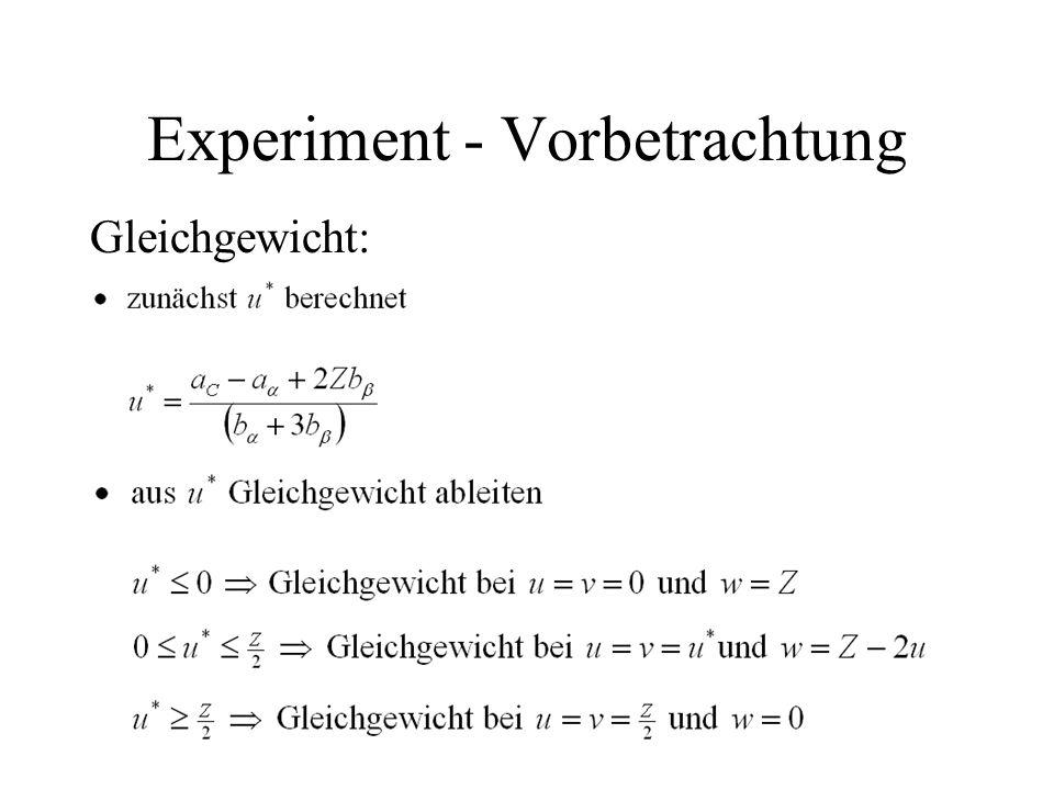 Experiment - Vorbetrachtung Gleichgewicht: