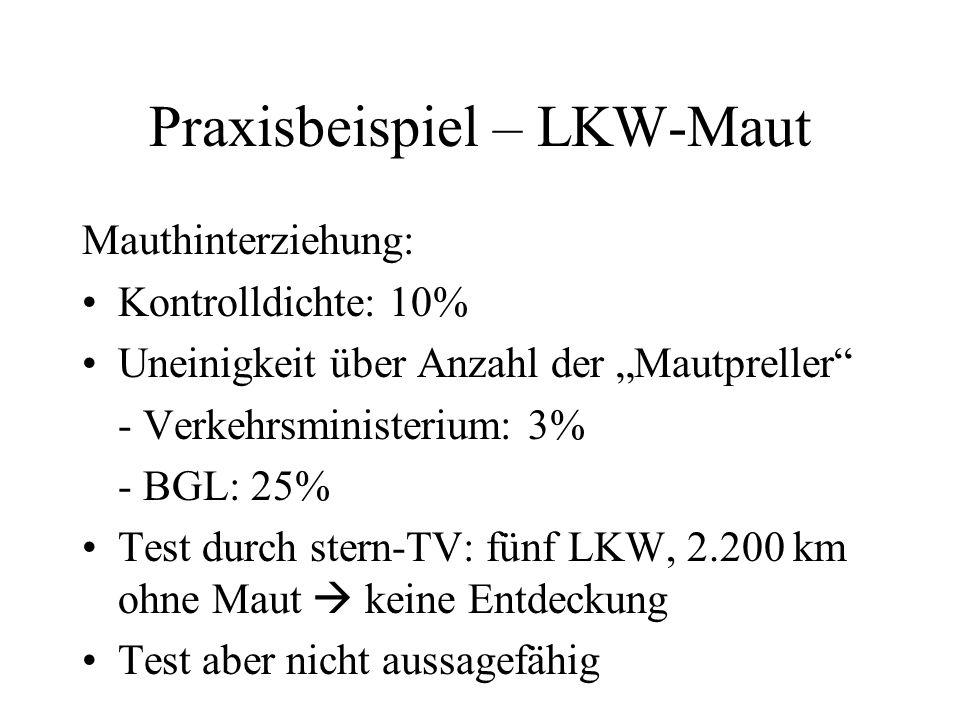 Praxisbeispiel – LKW-Maut Mauthinterziehung: Kontrolldichte: 10% Uneinigkeit über Anzahl der Mautpreller - Verkehrsministerium: 3% - BGL: 25% Test dur