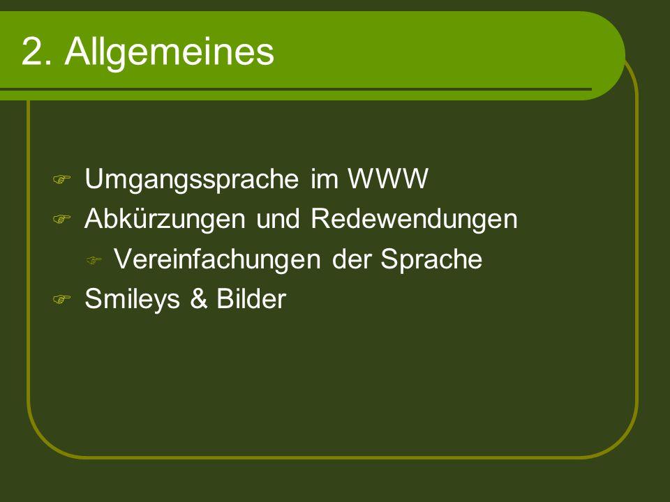 2. Allgemeines Umgangssprache im WWW Abkürzungen und Redewendungen Vereinfachungen der Sprache Smileys & Bilder