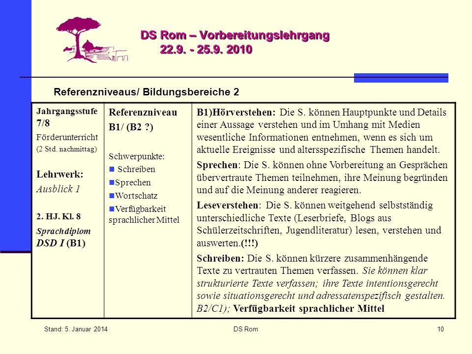 Stand: 5. Januar 2014 DS Rom10 DS Rom – Vorbereitungslehrgang 22.9. - 25.9. 2010 Referenzniveaus/ Bildungsbereiche 2 Jahrgangsstufe 7/8 Förderunterric
