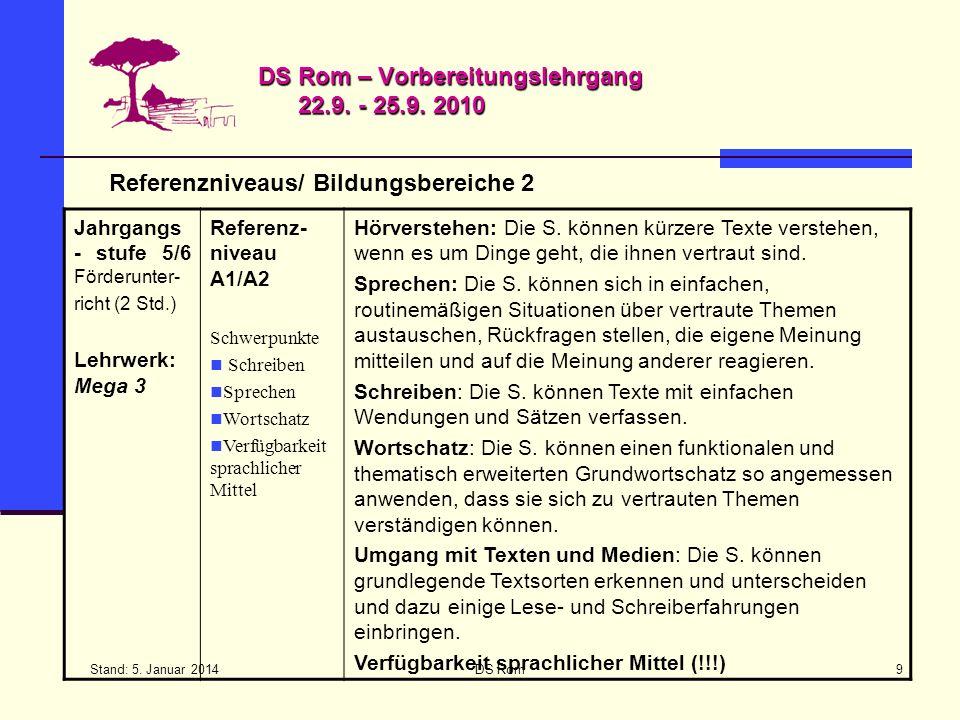 Stand: 5. Januar 2014 DS Rom9 DS Rom – Vorbereitungslehrgang 22.9. - 25.9. 2010 Referenzniveaus/ Bildungsbereiche 2 Jahrgangs - stufe 5/6 Förderunter-