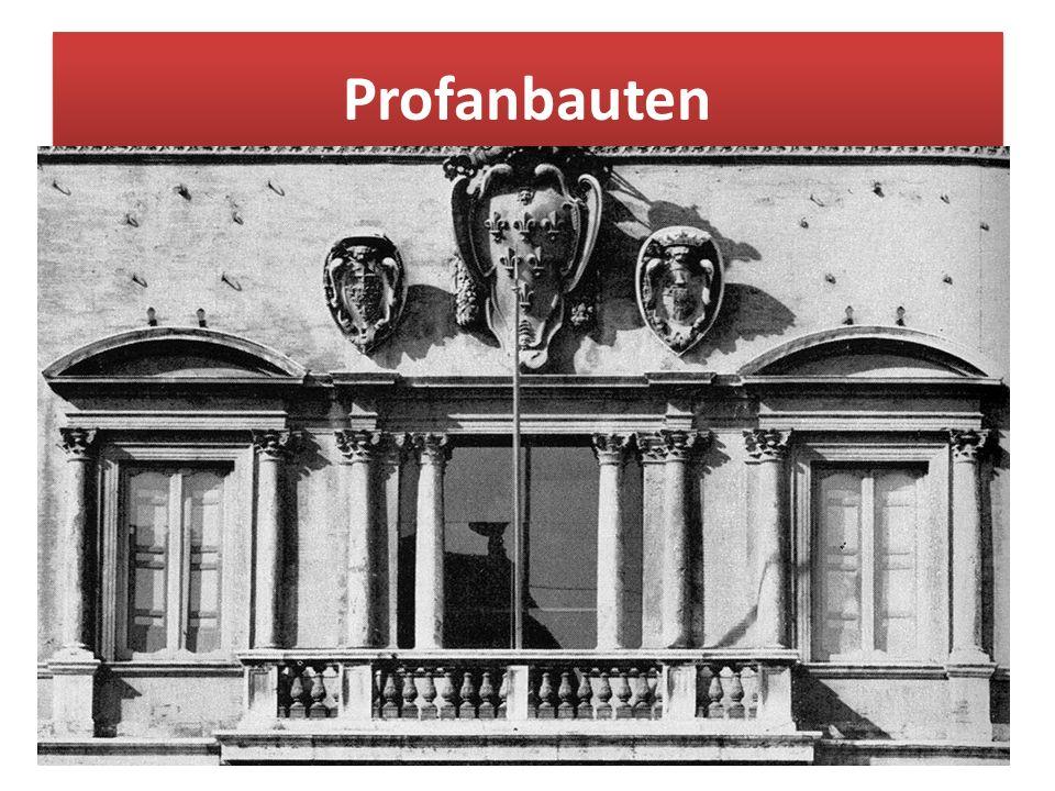 Profanbauten Profan (lat.: pro = vor, fanum = heiliger Bezirk) bedeutet vor dem geheiligten Bereich Liegendes. : Burg- und Palastbauten, Wohn- und Kom