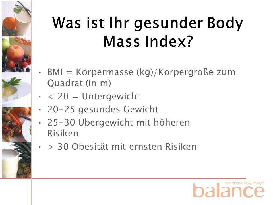 Was ist Ihr gesunder Body Mass Index? BMI = Körpermasse (kg)/Körpergröße zum Quadrat (in m) < 20 = Untergewicht 20-25 gesundes Gewicht 25-30 Übergewic
