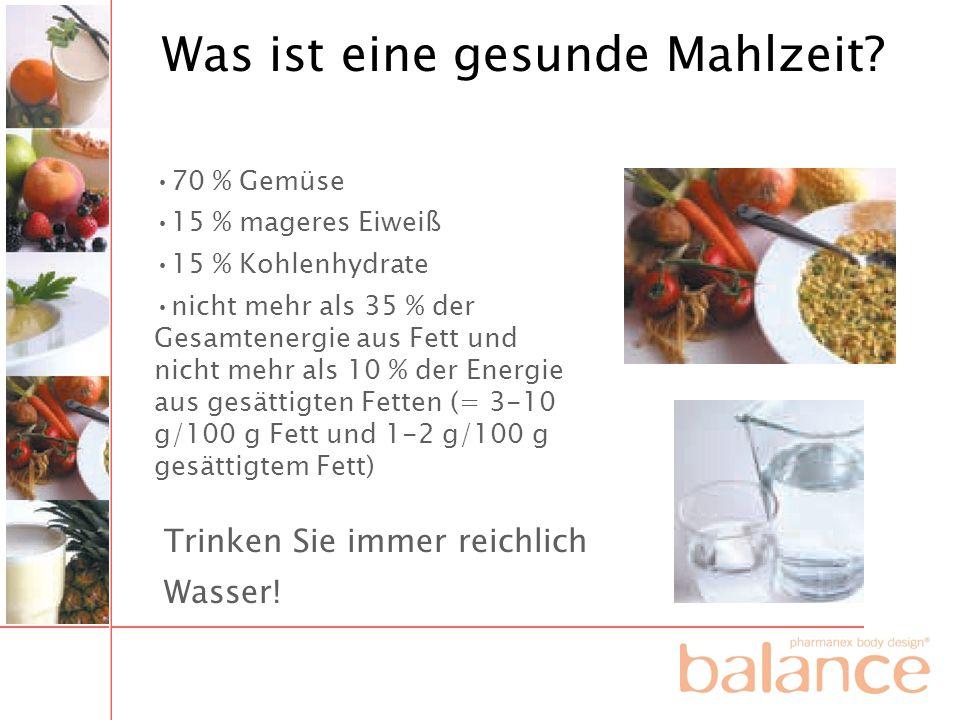 Was ist eine gesunde Mahlzeit? 70 % Gemüse 15 % mageres Eiweiß 15 % Kohlenhydrate nicht mehr als 35 % der Gesamtenergie aus Fett und nicht mehr als 10