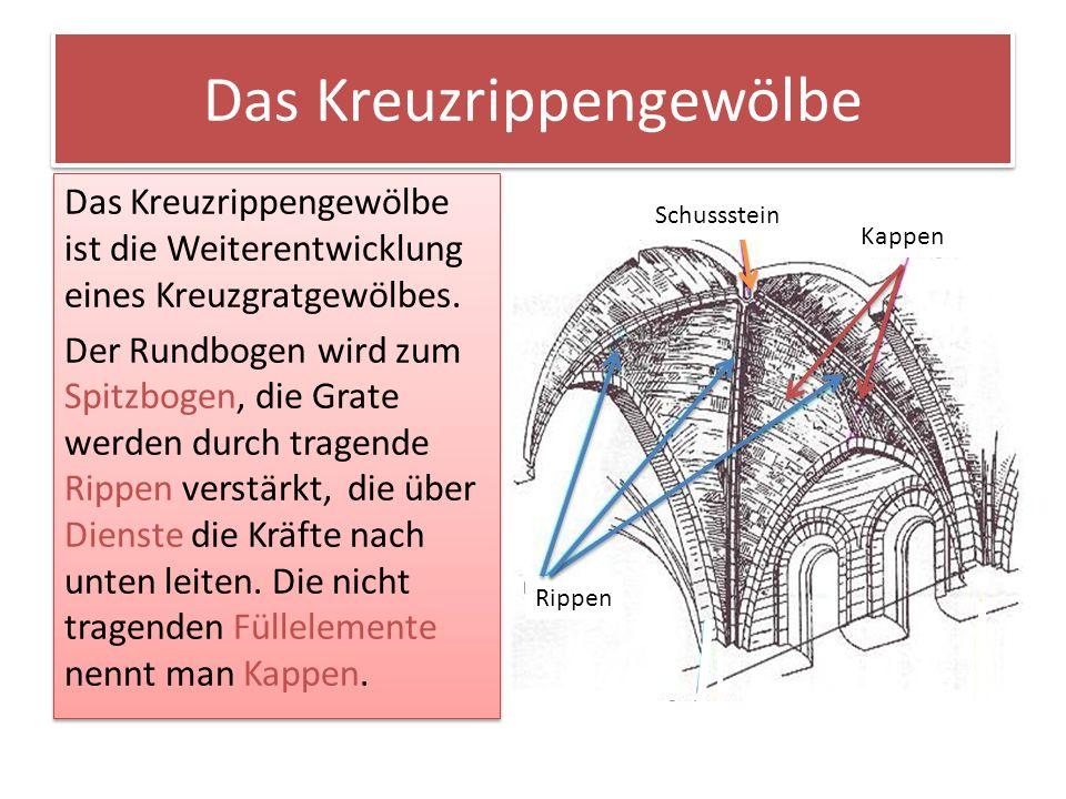Das Kreuzrippengewölbe Das Kreuzrippengewölbe ist die Weiterentwicklung eines Kreuzgratgewölbes. Der Rundbogen wird zum Spitzbogen, die Grate werden d