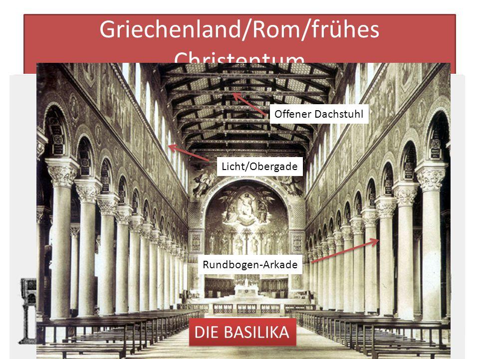 Griechenland/Rom/frühes Christentum Kein anderes Bauwerk beeinflusste die Architektur so sehr wie der griechische Tempel. Der griechische Tempel durft