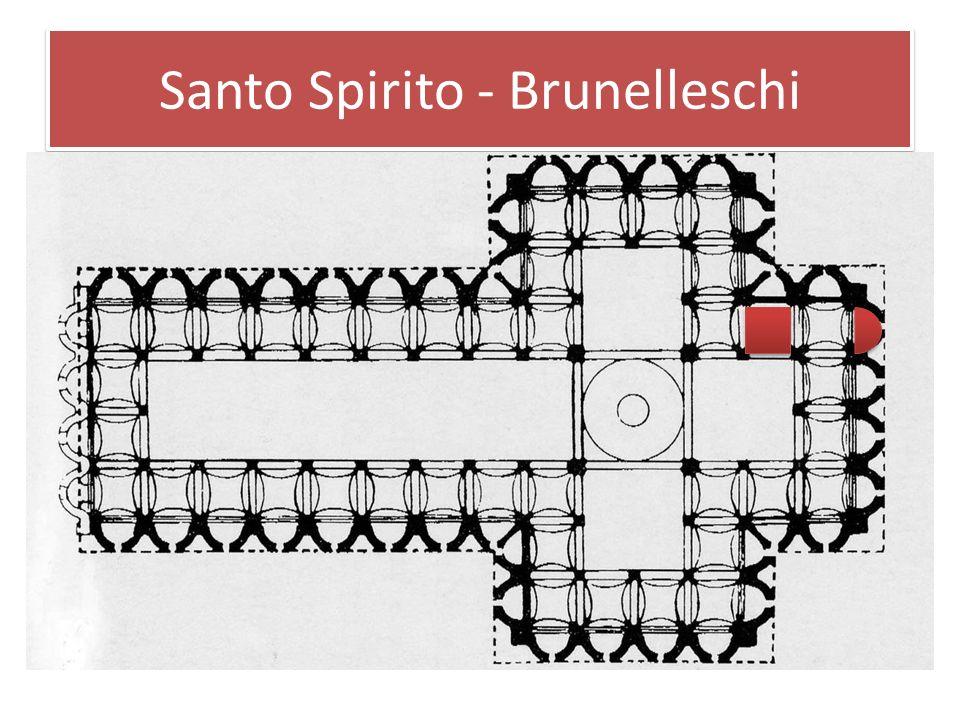 Santo Spirito - Brunelleschi Santo Spirito wurde 1436 begonnen und ist Brunelleschis Beitrag zum Longitudinalbau und zur Gliederung einer Architektur