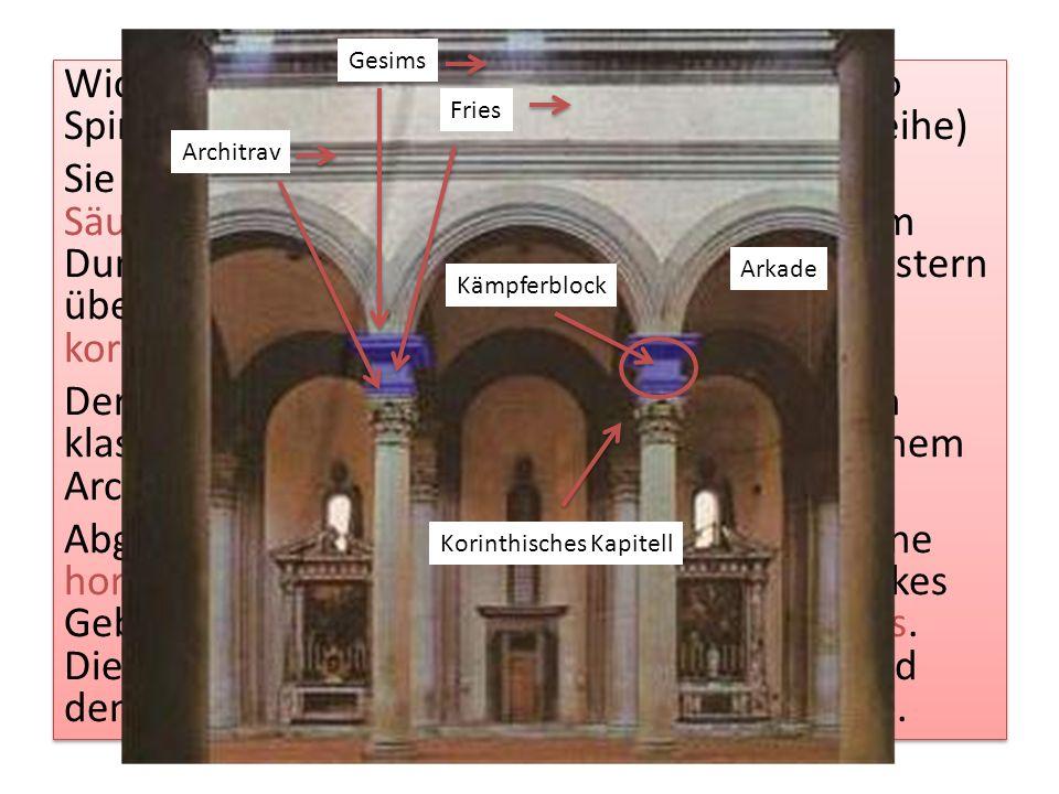 Wichtigstes Motiv der Gliederung sind in Santo Spirito die bogentragenden Säulen. (Arkadenreihe) Sie orientieren sich an den antiken Säulenordnungen: