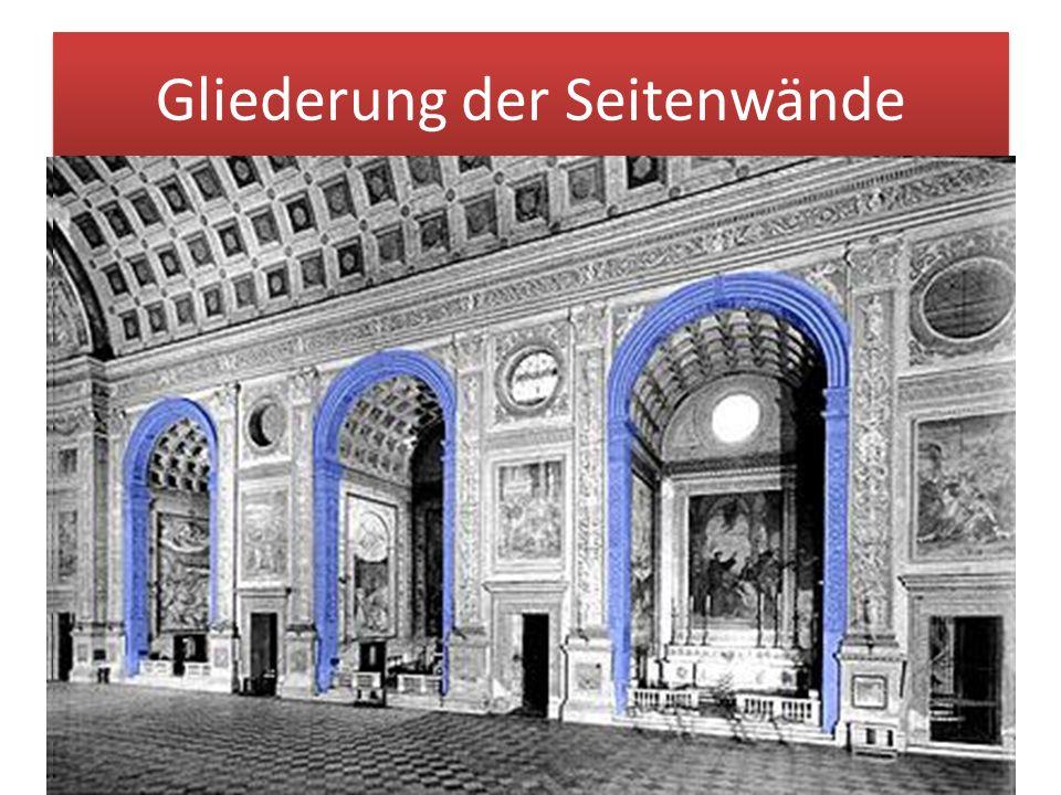 Gliederung der Seitenwände Alberti beschränkte sich auf das Motiv der rhythmischen Travée, die als große Ordnung die gesamte Wand zusammenfaßt und in