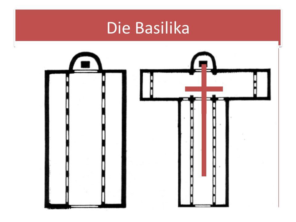 Die Basilika Querschnitt Seitenschiff Mittelschiff Licht/Obergade Hauptmerkmal der Basilika ist: Ein langgezogenes, höheres Mittelschiff mit Licht/Obe