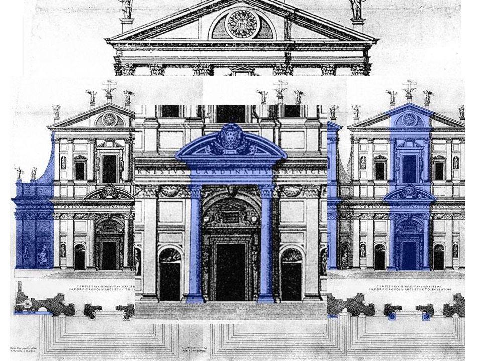 Vorbild Fassade Entwurf von Vignola Vignolas Fassade wurde zwar nicht ausgeführt, sie ist aber entwicklungs-geschichtlich wichtig, da hier Themen der