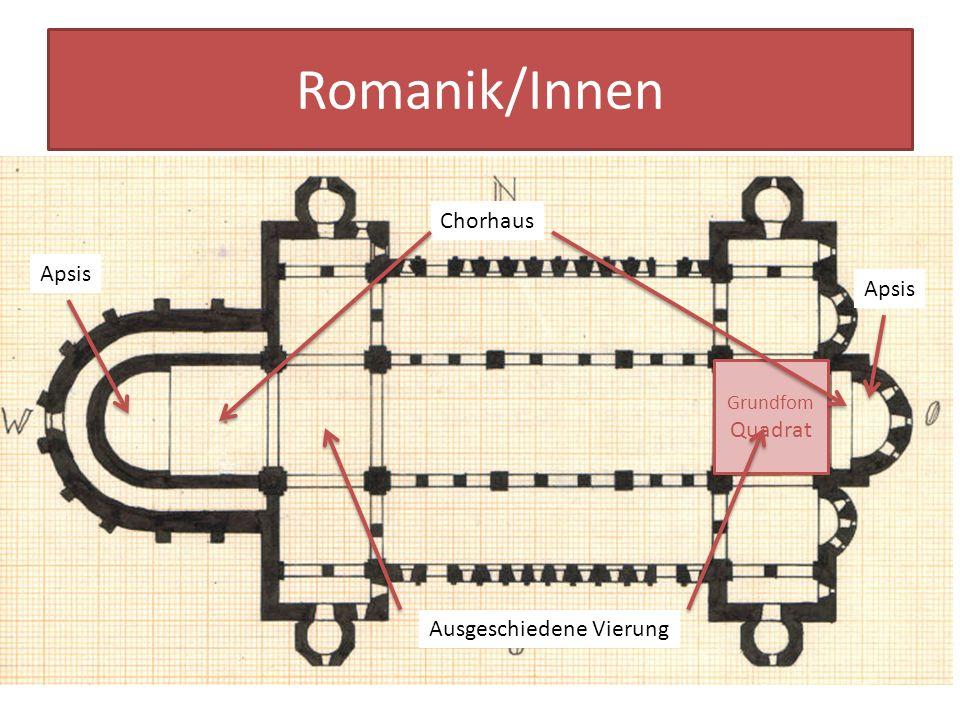 Romanik/Innen Aufbau der romanischen Basilika (Stankt Michael) Die grundlegende Maßeinheit ist das Quadrat Das Langhaus ist Ost-West ausgerichtet und