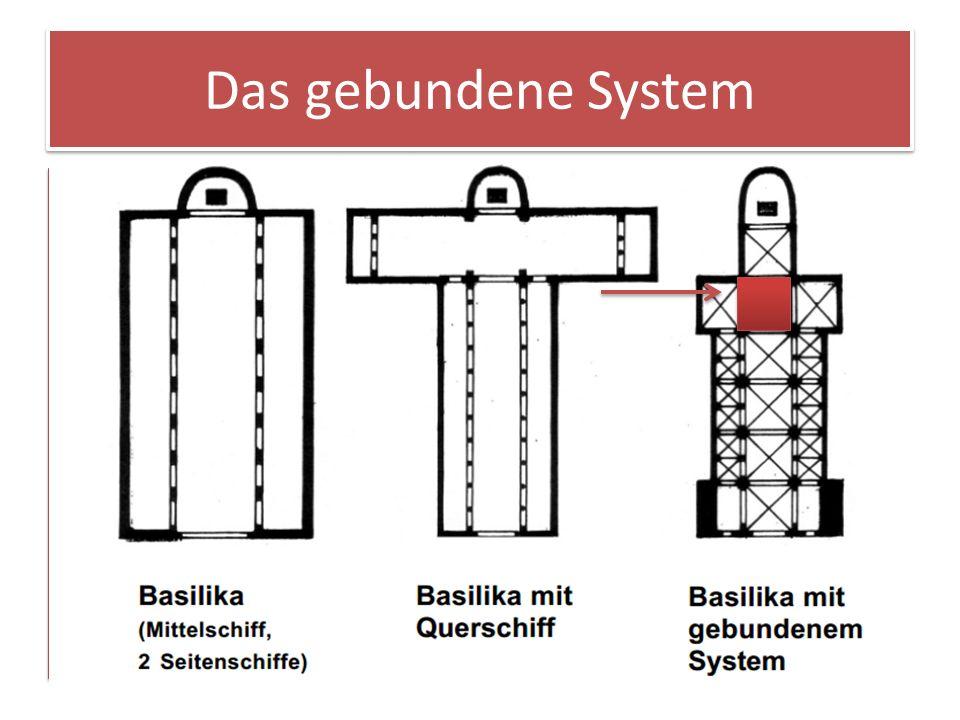 Ein gebundenes System liegt dann vor, wenn das Vierungsquadrat die Maße der ganzen Kirche bestimmt. Im rechten Grundriss erkennt man, dass das Quadrat
