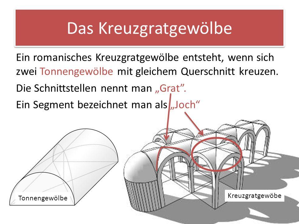 Das Kreuzgratgewölbe Ein romanisches Kreuzgratgewölbe entsteht, wenn sich zwei Tonnengewölbe mit gleichem Querschnitt kreuzen. Die Schnittstellen nenn