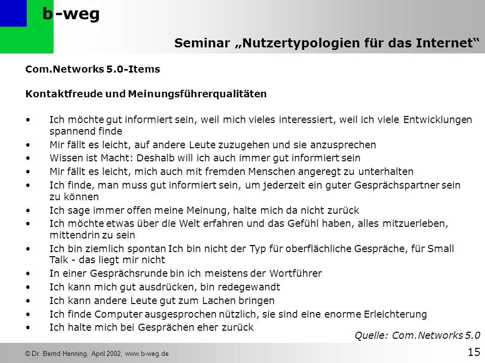 -wegb © Dr. Bernd Henning, April 2002, www.b-weg.de 15 Seminar Nutzertypologien für das Internet Com.Networks 5.0-Items Kontaktfreude und Meinungsführ
