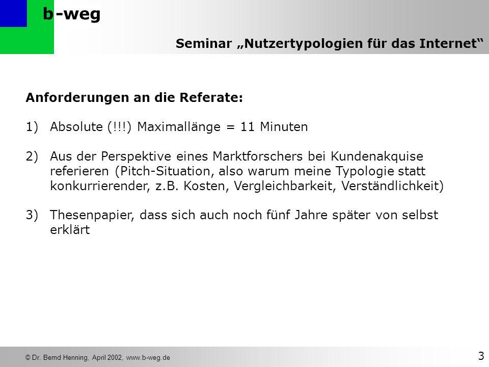-wegb © Dr. Bernd Henning, April 2002, www.b-weg.de 3 Seminar Nutzertypologien für das Internet Anforderungen an die Referate: 1)Absolute (!!!) Maxima