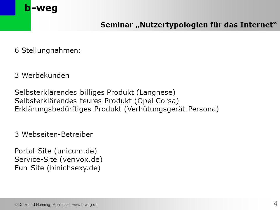 -wegb © Dr. Bernd Henning, April 2002, www.b-weg.de 4 Seminar Nutzertypologien für das Internet 6 Stellungnahmen: 3 Werbekunden Selbsterklärendes bill