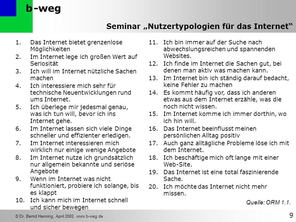 -wegb © Dr. Bernd Henning, April 2002, www.b-weg.de 9 Seminar Nutzertypologien für das Internet 1.Das Internet bietet grenzenlose Möglichkeiten 2.Im I