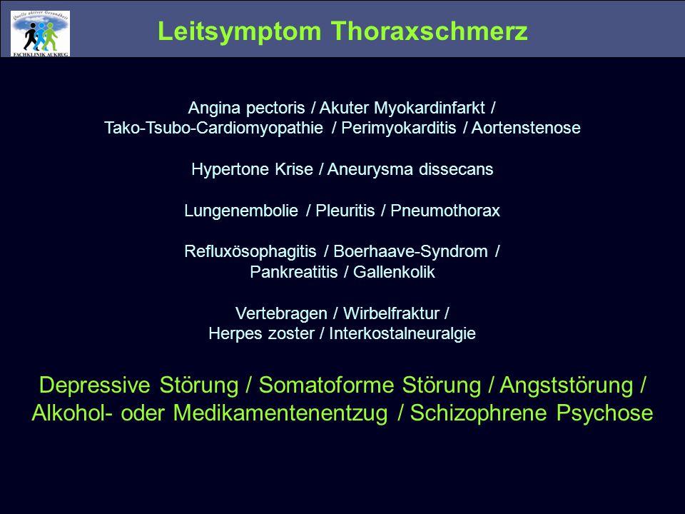 Leitsymptom Thoraxschmerz Angina pectoris / Akuter Myokardinfarkt / Tako-Tsubo-Cardiomyopathie / Perimyokarditis / Aortenstenose Hypertone Krise / Ane