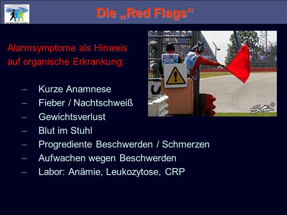 Die Red Flags Alarmsymptome als Hinweis auf organische Erkrankung: –Kurze Anamnese –Fieber / Nachtschweiß –Gewichtsverlust –Blut im Stuhl –Progredient