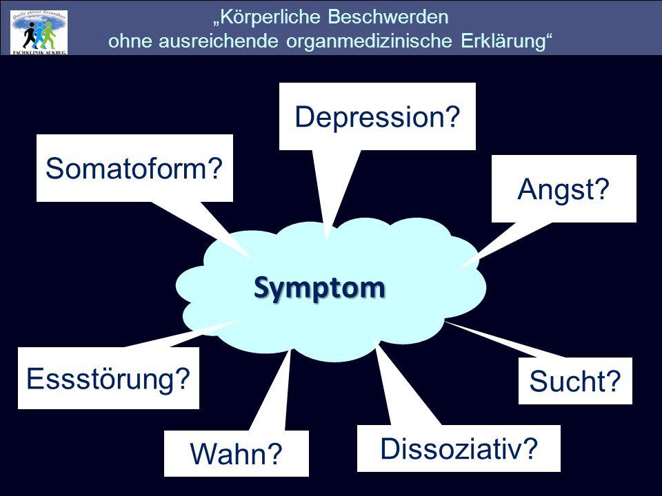 Symptom Somatoform? Dissoziativ? Angst? Sucht? Depression? Körperliche Beschwerden ohne ausreichende organmedizinische Erklärung Essstörung? Wahn?