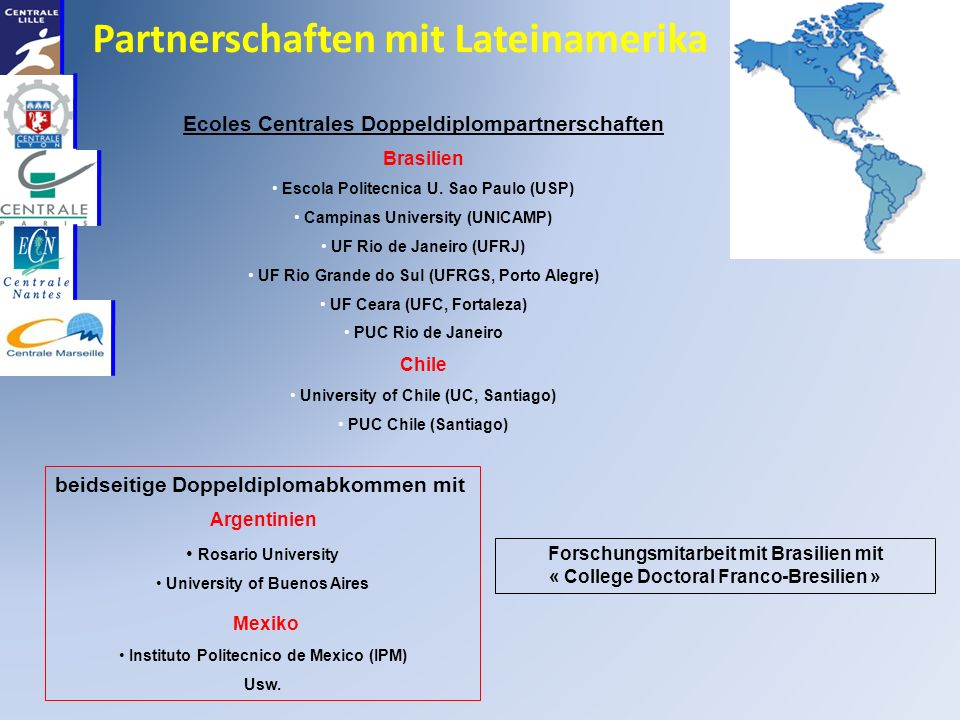 Partnerschaften mit Lateinamerika Ecoles Centrales Doppeldiplompartnerschaften Brasilien Escola Politecnica U.
